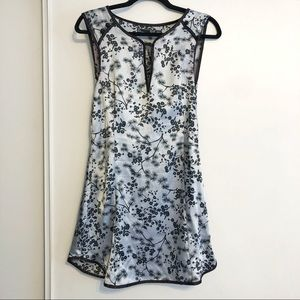 Asian Inspired Satin Silver and Black Mini Dress!